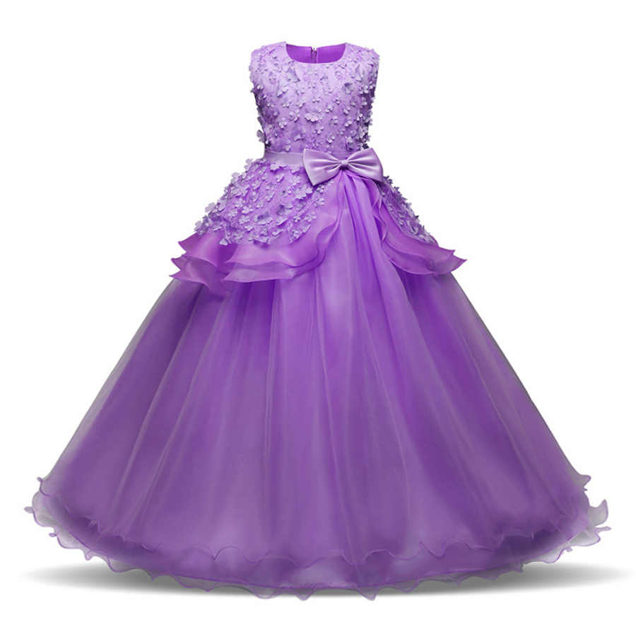 05473724aa3cb Girls party wear clothing for children summer sleeveless lace princess  wedding dress girls teenage well party prom dress
