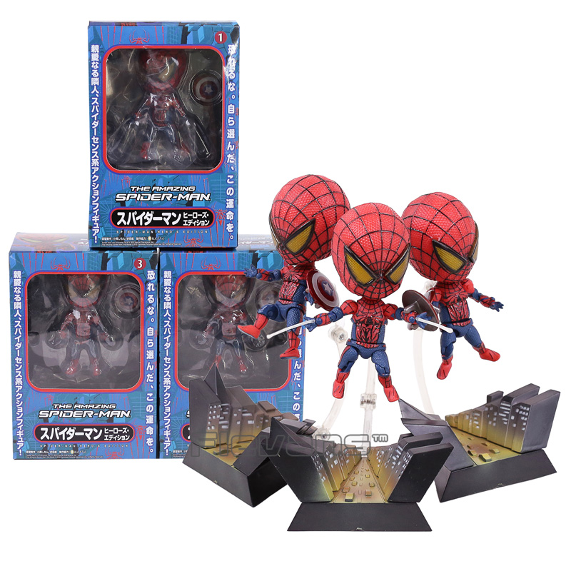 Spiderman The Amazing Spider Man PVC Figures Collectible Model Toys 3pcs/set 10cm amazing spider man worldwide vol 6
