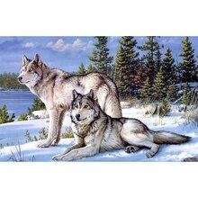 Wolf gezählt kreuzstich kits paste malerei wohnzimmer handarbeitspackungen 0135R-Quadratmeter Diamant-stickerei zx