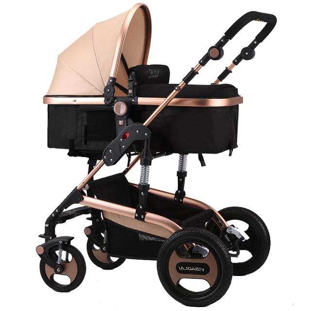 Alta moda Bebê Carrinho De Criança Dobrável Carrinhos De Luxo À Prova de Choque de Alta Paisagem Carrinho De Bebê 3 em 1 Portátil de Carro Do Bebê C01