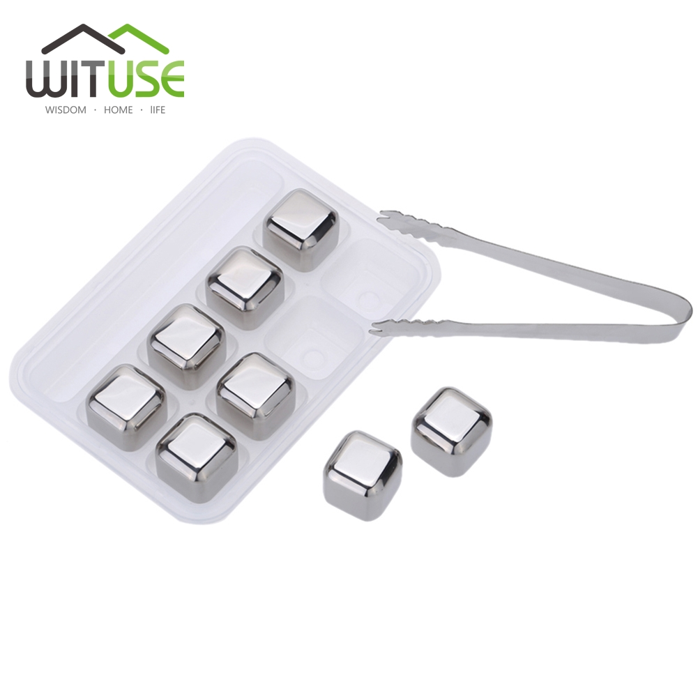 WITUSE 8pcs Stainless Steel Whiskey Ice Stone Cubes/Balls/Diamond/Heart Shape Drink Cooler for Whiskey beer Bar Home favors