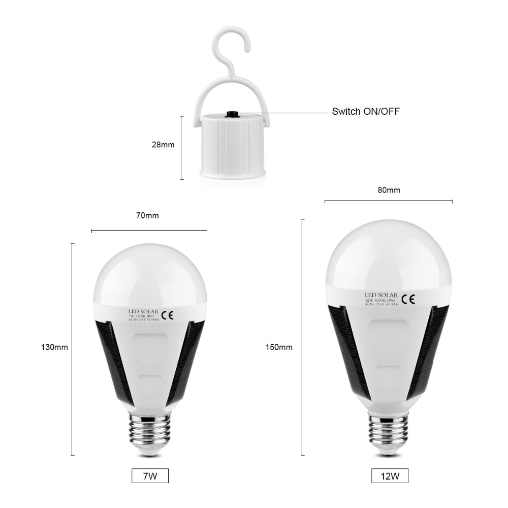 E27 7W LED Solar Light Bulb Portable Outdoor Camping Tent Rechargeable Lamp