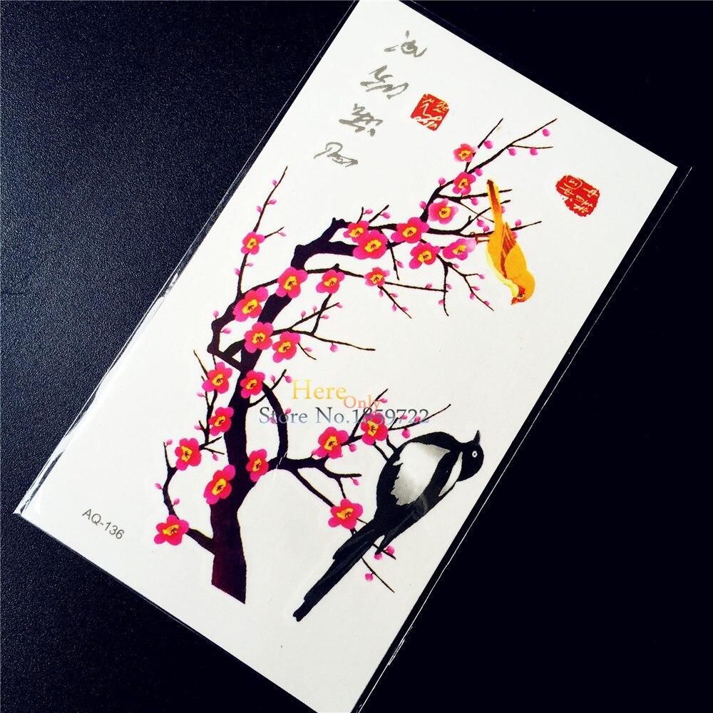 Plum Tree With Birds Waterproof Henna Temporary Tattoo Paste HAQ-136 Sexy Women Makeup Tips Fake Tattoo Stickers Jewerly Designs