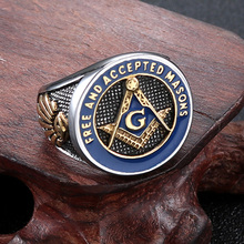 DICAYLUN Masonic Free Mason Rings Men Stainless Steel Signet Freemason Ring Silver Blue Freemasonry Punk Jewelry Mens Male Gifts