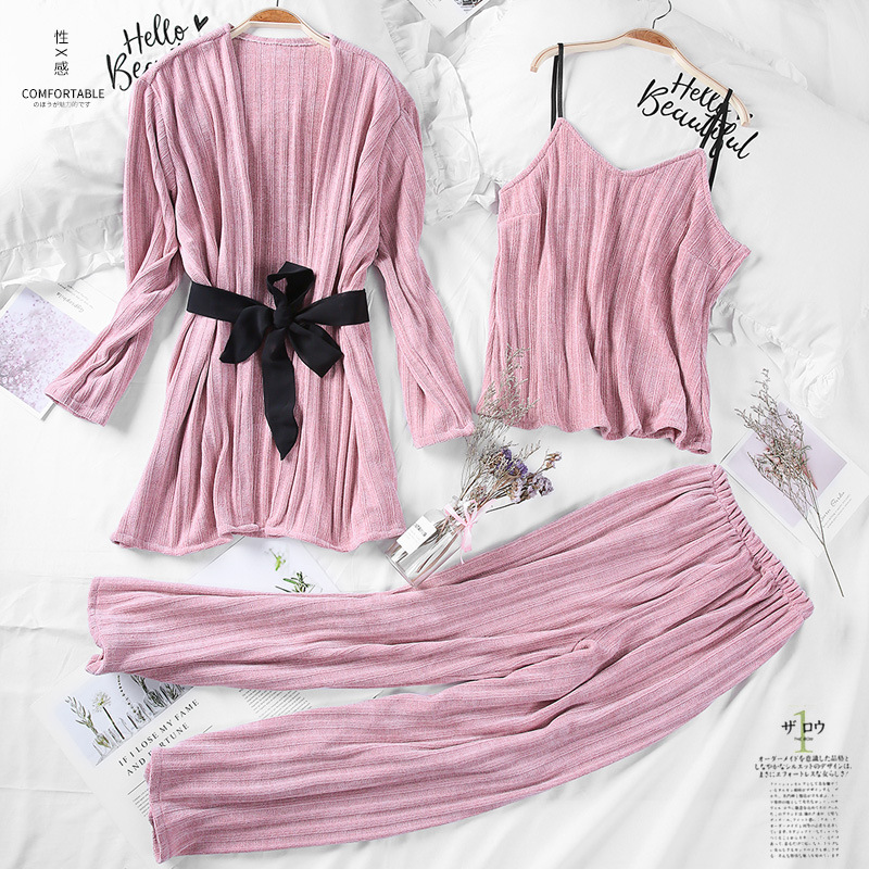 Autumn Winter Female 3PCS Sleepwear Thick Warm Home Clothes Sexy Cami+Robe+Pants   Pajamas     Set   Soft Women Nightwear M L XL