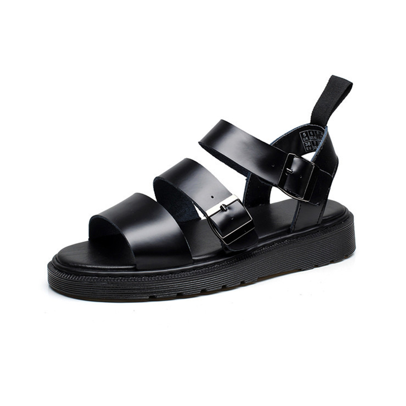 Genuine Leather Women Sandals Gladiator Summer Shoes 2019 Platform Black Flat Woman Casual Shoes Beach Sandals For Woman Shoe