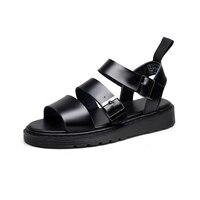 Genuine Leather Women Sandals Gladiator Summer Shoes 2019 Platform Black Flat Woman Casual Shoes Beach Sandals For Woman Shoe