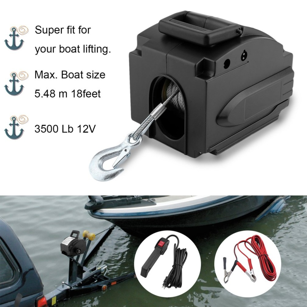 Professional 3500 Lb 12V Wire Rope Electric Boat Winch Motor Winches With Remote Control Powerful Lifting Tools Accessories