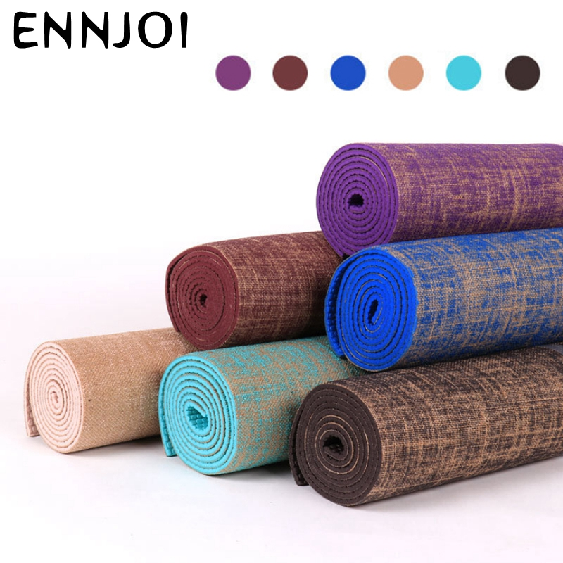 NEW 6 Colors 183 61cm 6mm Thickness Tasteless Non slip Linen Yoga Mat Lose Weight Body