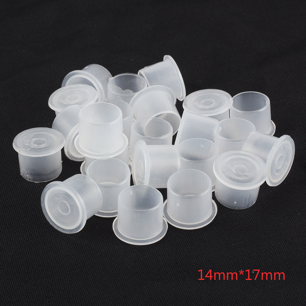 (White) 14*17mm Tattoo Caps 1000PCS Pigment Supplies Plastic Self-standing Ink Cups free shipping
