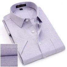 الصيف ترتيب الأسرة طوق قصيرة الأكمام أكسفورد النسيج لينة طباعة رجال الأعمال الذكية قمصان عادية مع الصدر جيب S 4xl 8 اللون