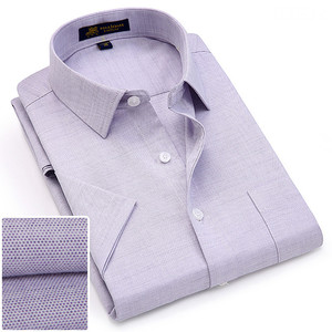 Image 1 - Summer turndown collar short sleeve oxford fabric soft print business men smart casual shirts with chest pocket S 4xl 8color