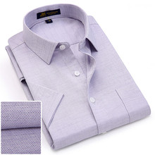 여름 turndown 칼라 짧은 소매 옥스포드 패브릭 소프트 인쇄 비즈니스 남성 스마트 캐주얼 셔츠와 가슴 주머니 S 4xl 8 색