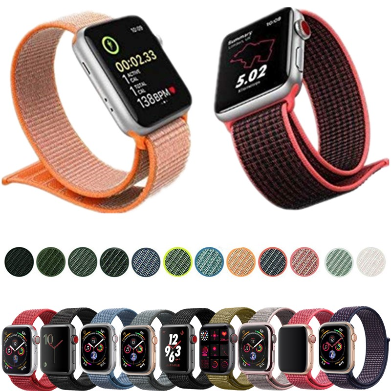Nylon Loop Band For Apple Watch strap 44/42/40/38mm Sport breathable correa pulseira Bracelet Wrist For Iwatch 4/3/2/1 Accessori