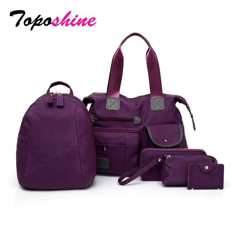 Toposhine 2018 décontracté Nylon femmes sac à main haute capacité solide femme voyage sacs à bandoulière 5 pièces Composite sac pour dame