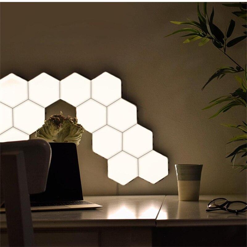 2019 lumière quantique Helios tactile sensible LED panneau lumière modulaire hexagonale LED lumières magnétiques peinture LED plafon LED techo - 3