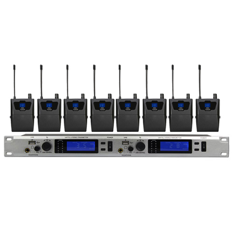 8 receivers iem wireless in ear monitor system professional 8 channels ear monitoring system 8. Black Bedroom Furniture Sets. Home Design Ideas