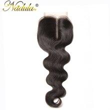 Nadula волос перуанский закрытие объемная волна волос 10-20 дюймов средняя часть не Реми волос швейцарский закрытия шнурка человеческих волос Ткань Бесплатная доставка