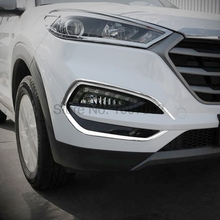 For Hyundai Tucson 2016 2017 2pcs Chrome Car Front Foglight Lamp Shade Cover Protectors Molding Trim Exterior Accessories