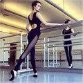 Фитнес Комбинезон женщины Ползунки тощий спинки открыть назад выдалбливают общая боди playsuit черный тренировки одежда 364