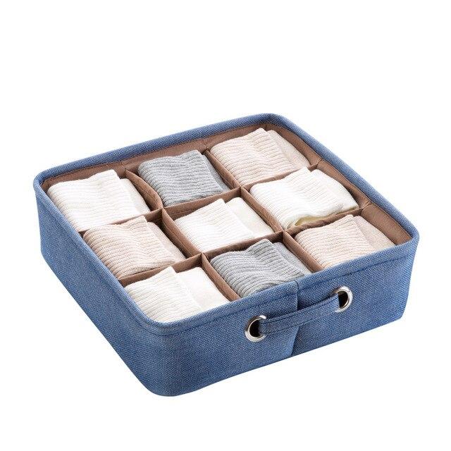 Cotton Linen Desktop Storage Organizer Sundries Storage Box Cabinet Drawer  Divider Underwear Storage Basket Box