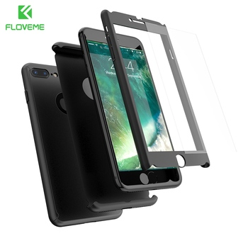 FLOVEME Case For iPhone 6 6S 7 Plus Full Protective 360 Degree Back Cover For iPhone 6S 7 Plus Front Tempered Glass Film Shells iphone 6