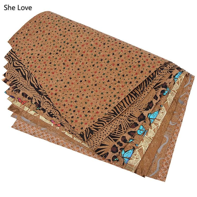 Elle aime coloré A3 doux liège tissu 42x30cm papillon motif tissu pour la maison couture vêtements bricolage vêtement Textile matériaux