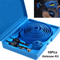 Hight Quality 16PC Carbon Steel Holesaw Set Circle Wood Round Cutter Hole Saw Drill Bits 19 127mm Tool Kit