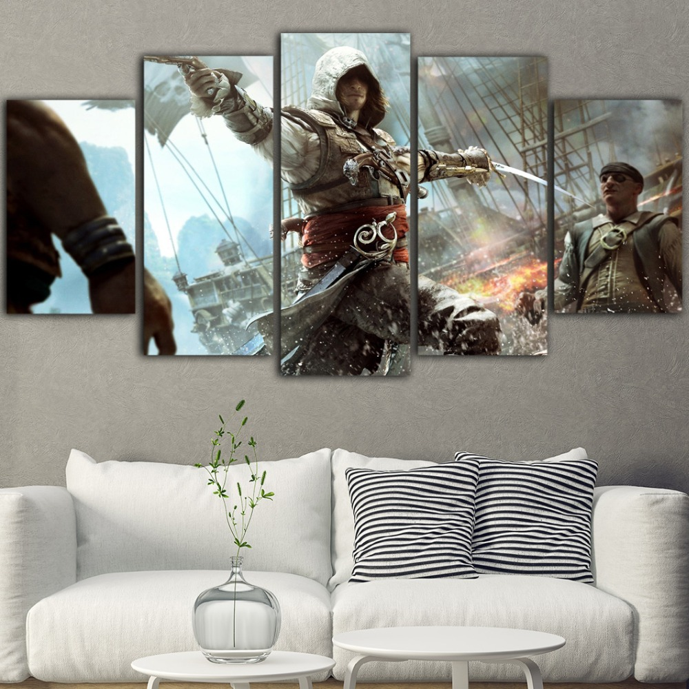 5Pieces Cuadro Decorativo Assassins Creed Canvas Art Wall Pictures For Living Room Painting Tableau Game Picture Posters Art image