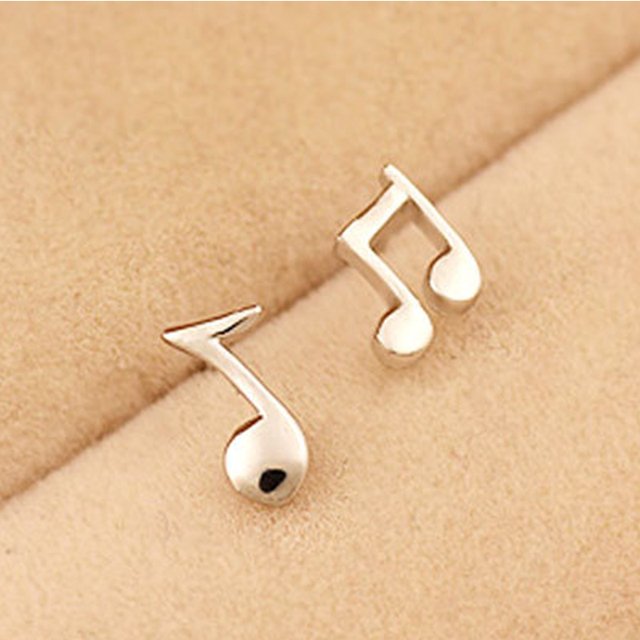 Fashion Punk Music Cute Note Ear Studs Silver Black Color Small Notes Tiny Stud Earrings