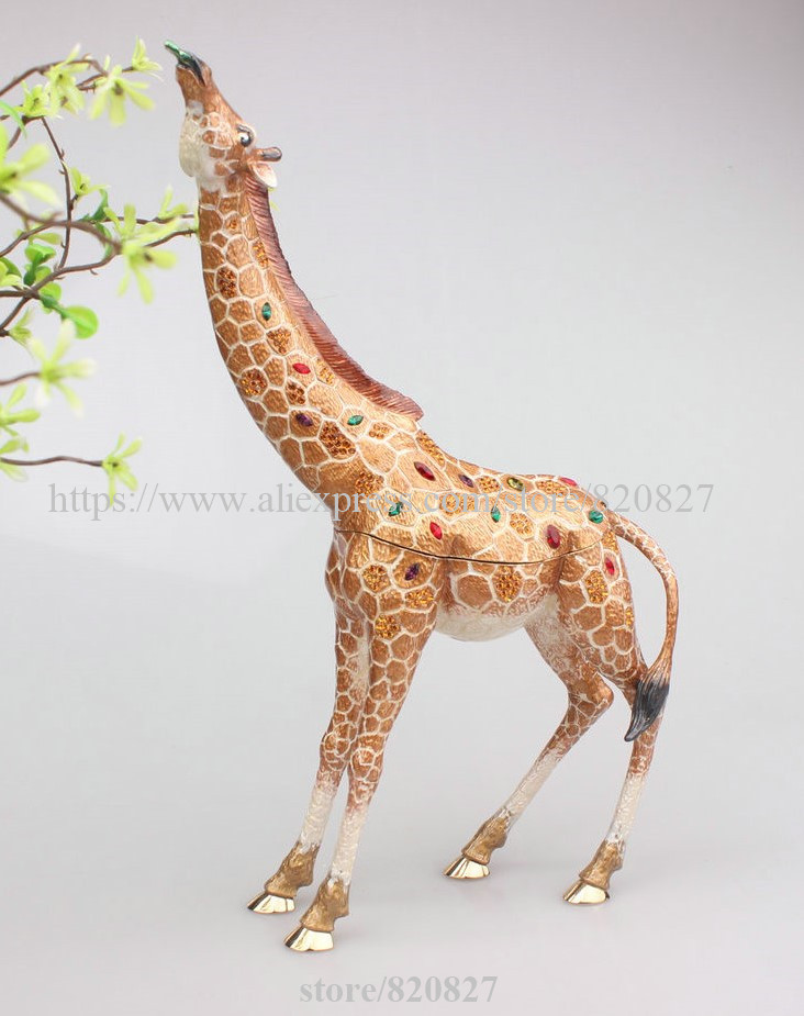 Large Bejeweled Giraffe Trinket Box Giraffe (Large, 9.8) Jeweled Trinket Box with Crystals Decorative Metal Giraffe Shape Gift