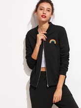 Black/White Rainbow Embroidered Pockets Jacket Women Sexy Coats With Zipper Fashion Clothing Long Sleeve Autumn Fall Outfits