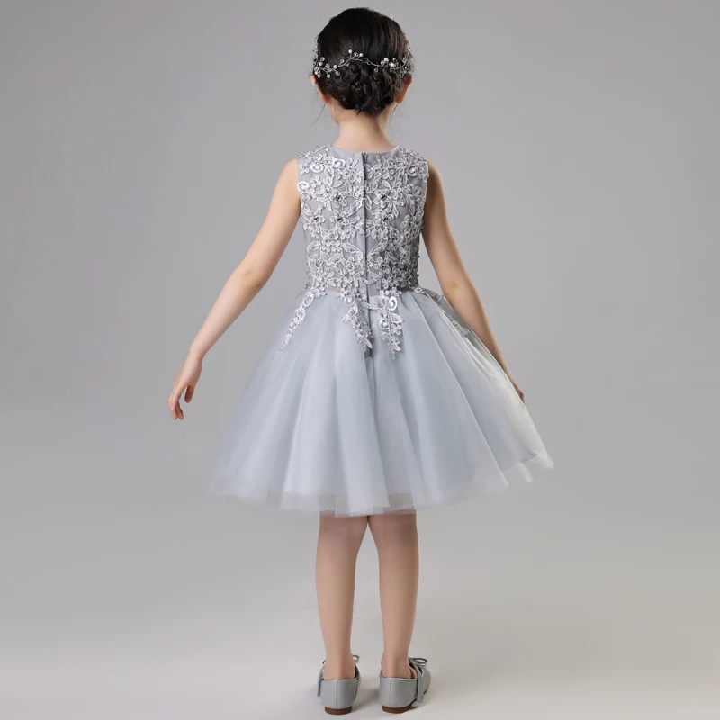 2019 New Baby Kids Gray Color Birthday Evening Party Princess Lace Ball  Gown Dress Toddler Girls Elegant Tutu Pageant Dress