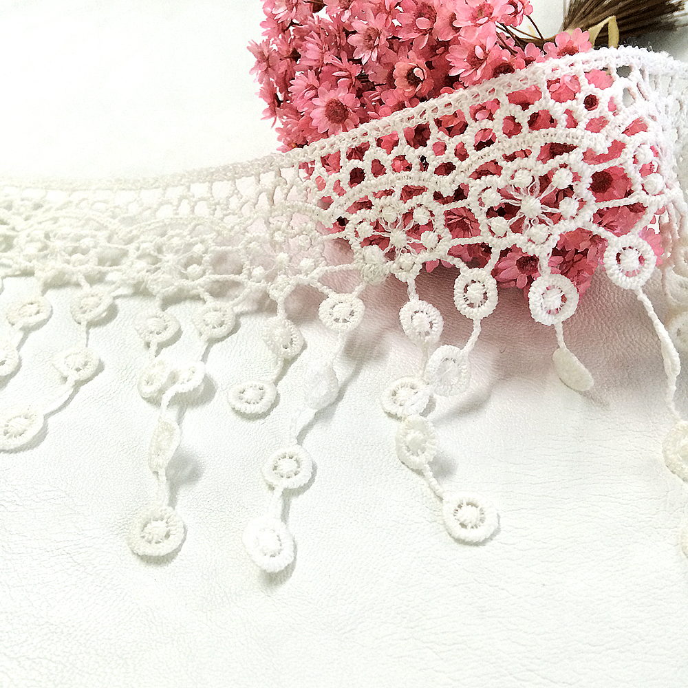 Beaded Applique Piece Lace Hanging Beads Strings Fringe Dangling Quali-Silver