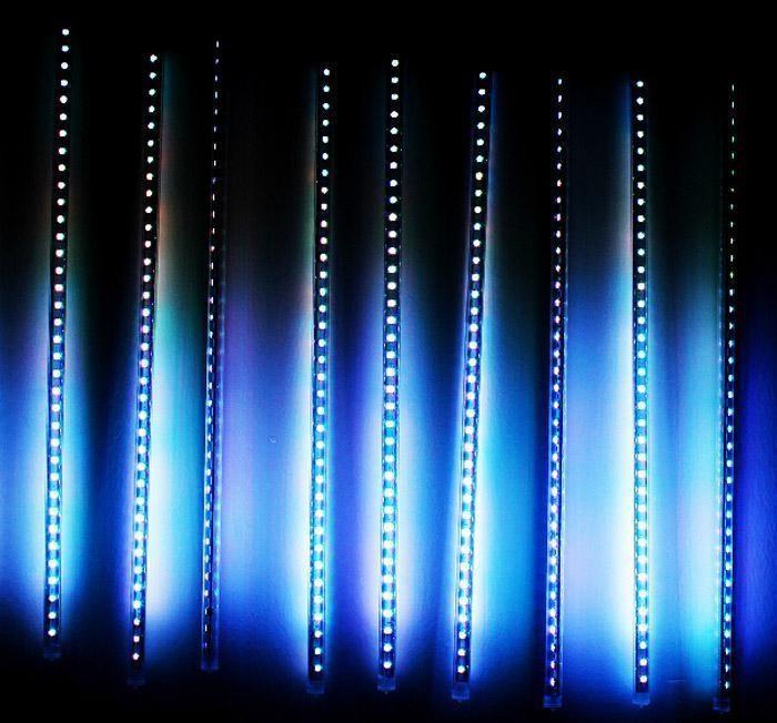 Бесплатная доставка RGB LED Метеор фонари трубки падение дождь елка лампы 50 см 3528 60 LED 10 трубы/комплект украшения