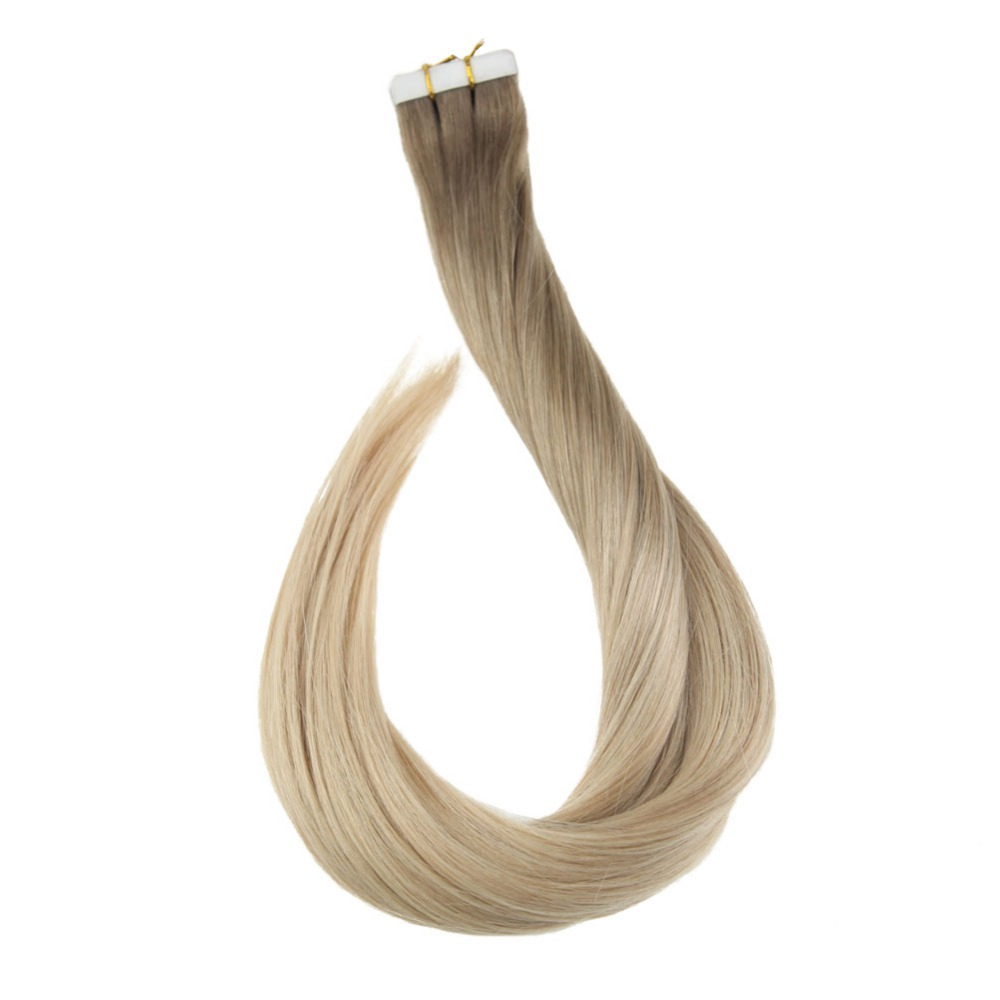 Full Shine Ombre Tape In Hair Extensions Color 8/18/60 Blonde Color Tape Human Hair Remy Seamless Haar 50 Gram Cheveux Extension