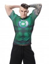 Red Plume Men Green Lantern Compression Sports T-shirt Men's Green Hero Fitness Shirt Color