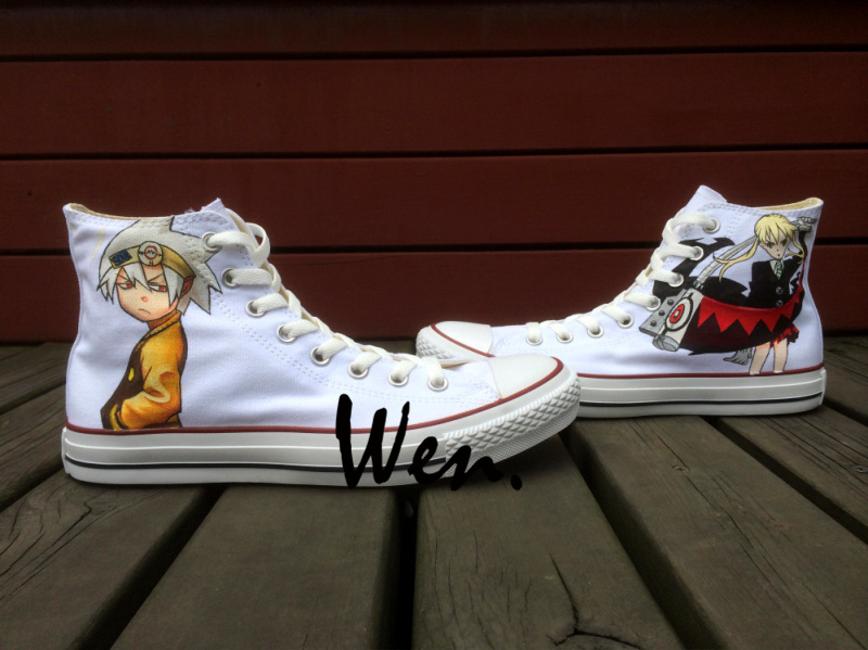 купить  Wen Design Custom White Hand Painted Shoes Soul Eater Anime High Top Canvas Sneakers for Men Women's Birthday Gifts  онлайн