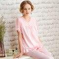 Pijamas de seda, Renda das Mulheres do verão, Sexy, Casa nobre, algodão, Tamanho grande, pijamas Pijama Define As Mulheres