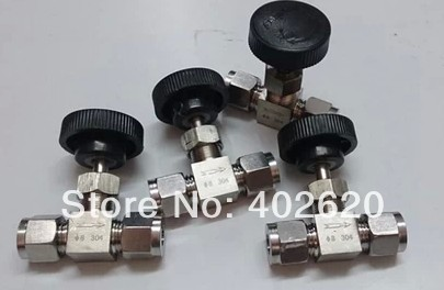 2pcs/lots US standard type, 16mm big sizes stainless steel  two way Needle ball valve, SS304 ball valve no name zville h10073