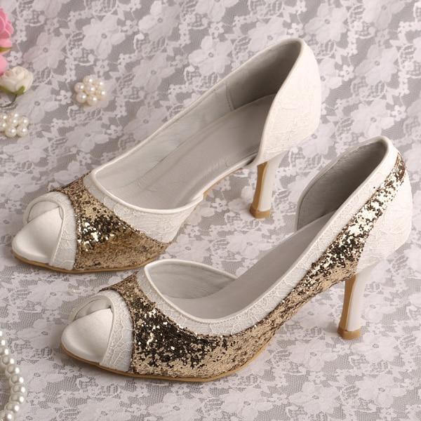 ФОТО Thin Heel Glitter Princess Shoes for Wedding Open Toe Dropshipping