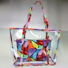 Special beach bag Clear Transparent Shoulder bag with Colorful inner bag Combo bag Summer Casual Handbag women Tote