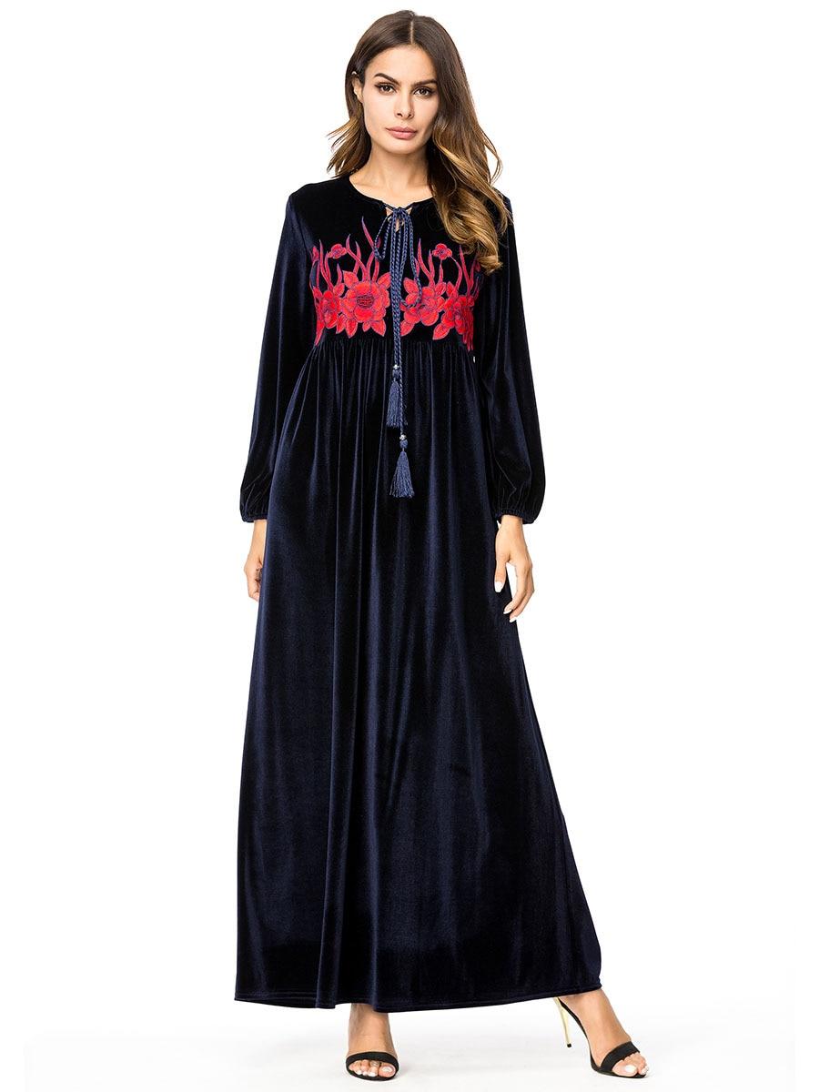 Embroidery Muslim Abaya Stitching Robe Gold Velvet Long Sleeved Kimono Loose Ramadan Arabic Turkish Islamic Clothing