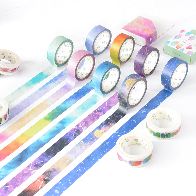Colorful Planet Washi Tape Diy Fita Decorativa Masking Tapes Cute Washitape Decorative Adhesive Tape washitape цена