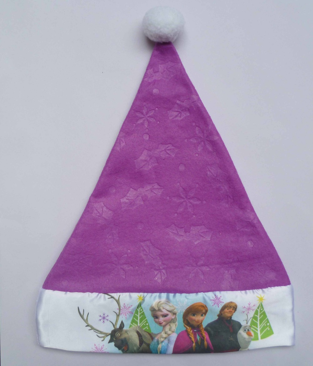kid children and adult felt Anna and Elsa movie cartoon purple Christmas Hat XMAS hat