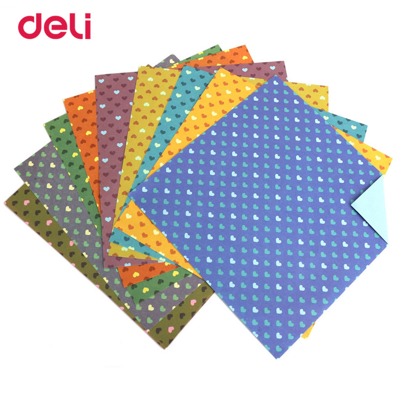deli 10pcs paper 10 sheets 150x150mm square folding origami craft papers for kids mix color love pattern paper for scrapbooking - Papers For Kids