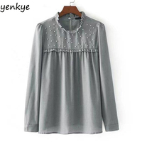Fashion Women Faux Pearl Long Sleeve Blouse Frill Stand Collar Gray Casual Beading Blouses Brand Tops