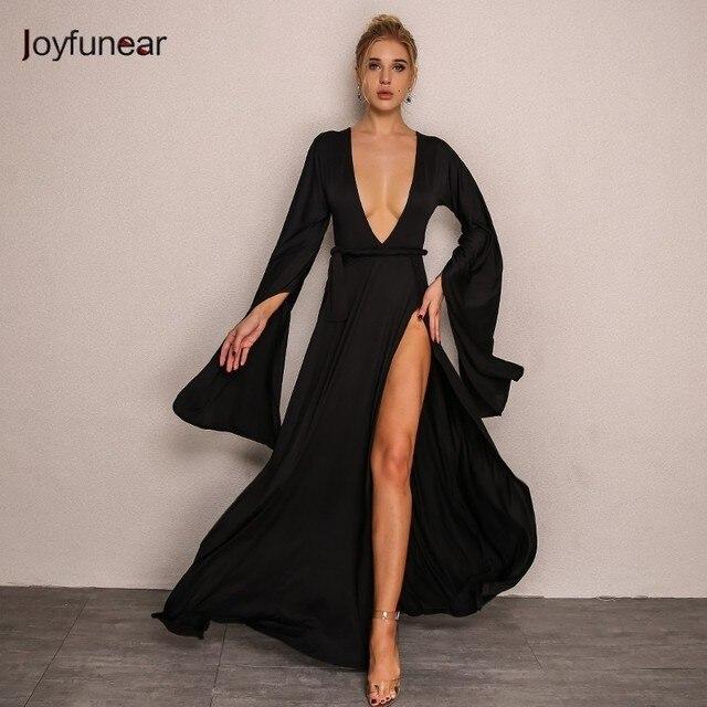 b3992d8273228 Joyfunear New Sexy High Split Women Dress Summer 2018 Beach Bodycon Maxi  Dress Elegant Evening Party Long Dresses Vestidos