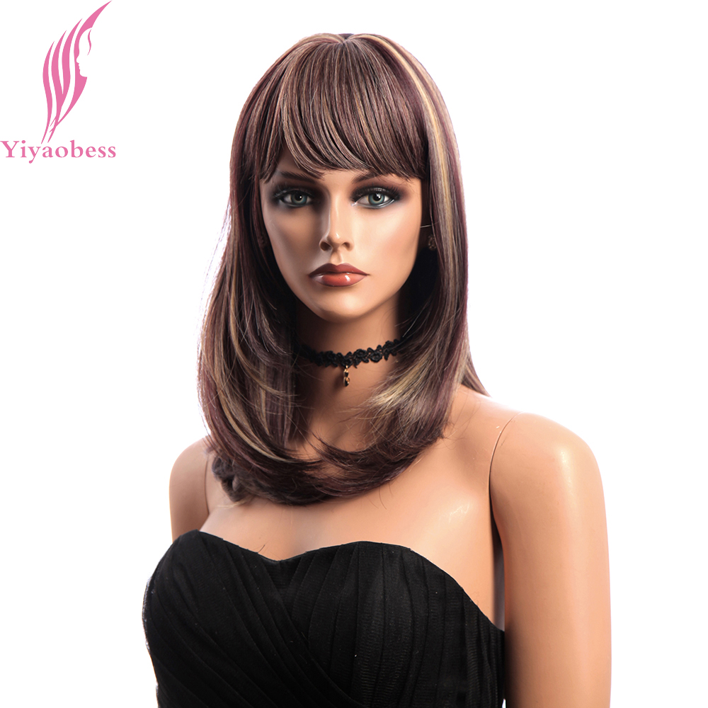 Yiyaobess 18inch Medium Long Wig Bangs Mix Brown Blonde Synthetic Hair Highlights Straight Wigs For African American Women ...