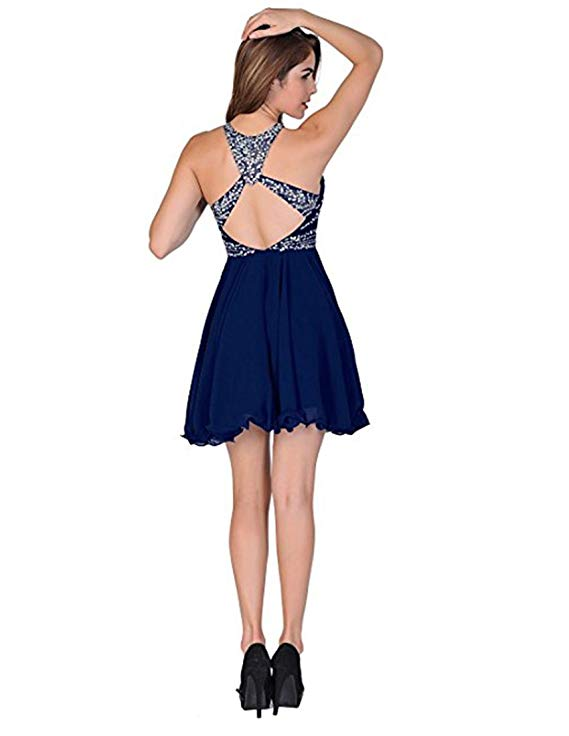2019 Jewel Neck Sexy Mini Short Halter With Backless Prom Gown Evening Dress Abiti Da Cerimonia Da Sera